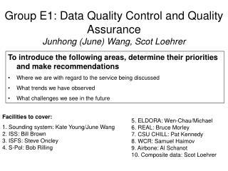 Group E1: Data Quality Control and Quality Assurance Junhong (June) Wang, Scot Loehrer