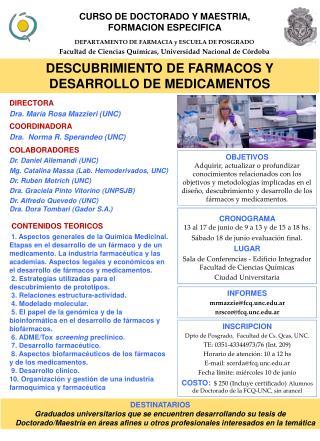 CURSO DE DOCTORADO Y MAESTRIA, FORMACION ESPECIFICA
