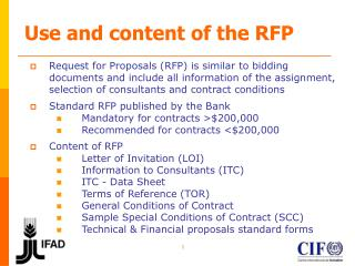 Use and content of the RFP