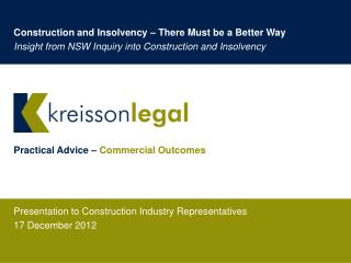 Presentation to Construction Industry Representatives 17 December 2012
