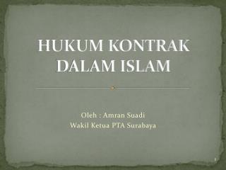 HUKUM KONTRAK DALAM ISLAM