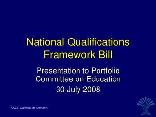 National Qualifications Framework Bill