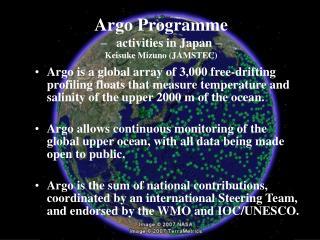 Argo Programme –   activities in Japan – Keisuke Mizuno (JAMSTEC)