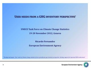 User needs from a GHG inventory perspective * UNECE  Task Force on Climate Change Statistics