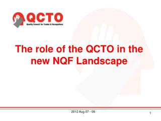 The role of the QCTO in the new NQF Landscape
