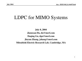 LDPC for MIMO Systems