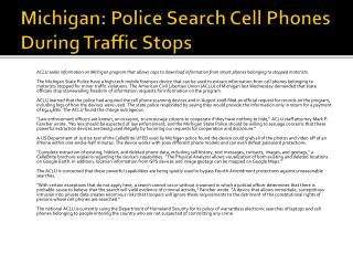 Michigan: Police Search Cell Phones During Traffic Stops
