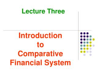 Introduction to Comparative Financial System