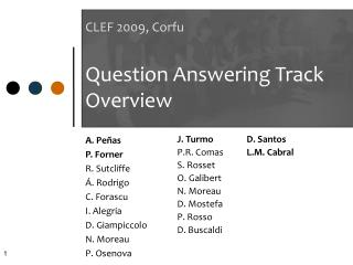 CLEF 2009, Corfu Question Answering Track Overview