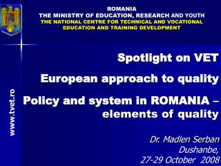 ROMA NIA THE  MINISTR Y OF EDUCATION, RESEARCH AND YOUTH