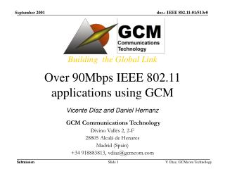Over 90Mbps IEEE 802.11 applications using GCM