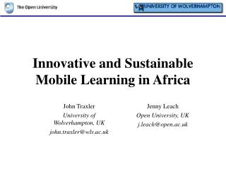 Innovative and Sustainable Mobile Learning in Africa