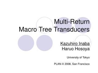 Multi-Return Macro Tree Transducers