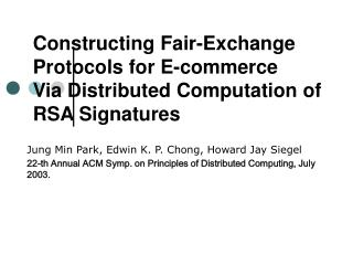 Constructing Fair-Exchange Protocols for E-commerce Via Distributed Computation of  RSA Signatures