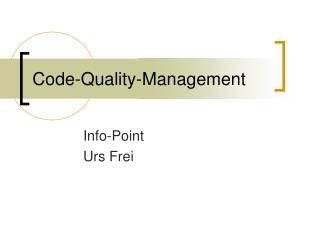 Code-Quality-Management