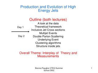Production and Evolution of High Energy Jets  Outline (both lectures) A look at the data