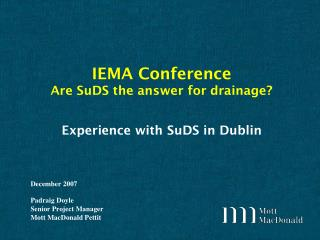 Experience with SuDS in Dublin