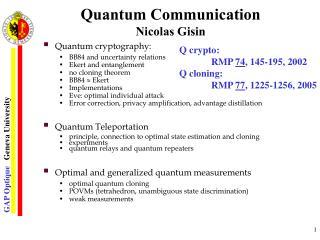 Quantum Communication Nicolas Gisin