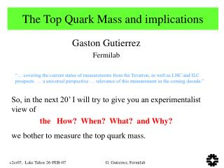 The Top Quark Mass and implications