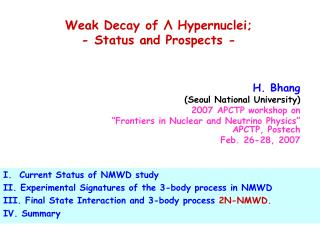 Weak Decay of  Λ  Hypernuclei; - Status and Prospects -