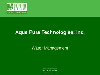 Aqua Pura Technologies, Inc.