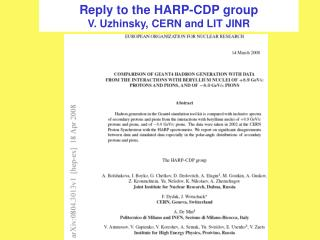 Reply to the HARP-CDP group V. Uzhinsky, CERN and LIT JINR