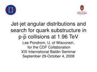 Jet-jet angular distributions and search for quark substructure in p-p collisions at 1.96 TeV