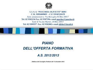 PIANO DELL'OFFERTA FORMATIVA A.S. 2012/2013