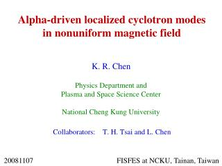 Alpha-driven localized cyclotron modes in nonuniform magnetic field