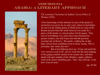ARBC0210-s14  Arabia: A Literary Approach