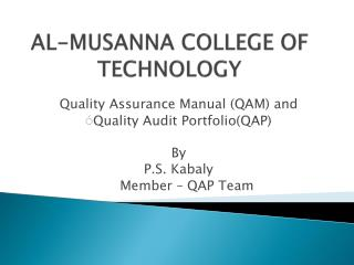 AL-MUSANNA COLLEGE OF TECHNOLOGY