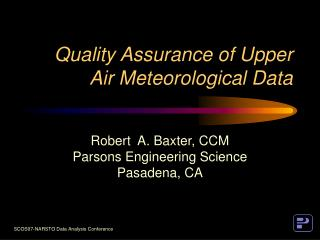 Quality Assurance of Upper Air Meteorological Data