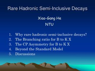 Rare Hadronic Semi-Inclusive Decays