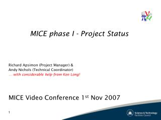 MICE phase I - Project Status