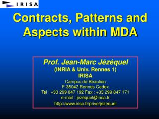 Contracts, Patterns and Aspects within MDA