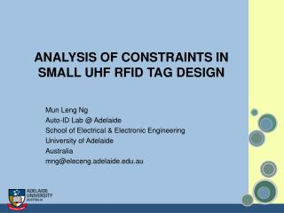 ANALYSIS OF CONSTRAINTS IN SMALL UHF RFID TAG DESIGN