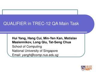 QUALIFIER in TREC-12 QA Main Task