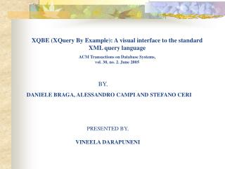 XQBE (XQuery By Example): A visual interface to the standard  XML query language