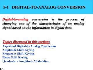 5-1   DIGITAL-TO-ANALOG CONVERSION