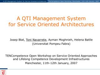 A QTI Management System for Service Oriented Architectures