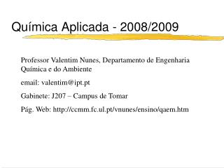 Química Aplicada - 2008/2009