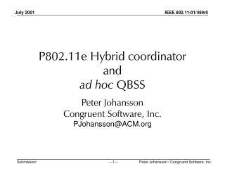 P802.11e Hybrid coordinator and ad hoc  QBSS