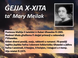 ĠEJJA X-XITA ta' Mary Meilak