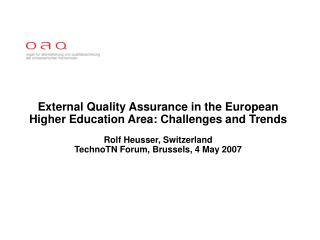 External Quality Assurance in the EHEA