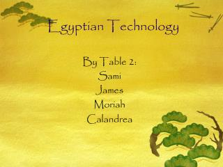 Egyptian Technology
