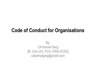 Code of Conduct for Organisations