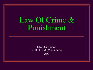 Law Of Crime & Punishment