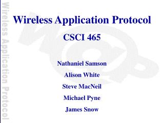 Wireless Application Protocol CSCI 465 Nathaniel Samson Alison White Steve MacNeil Michael Pyne