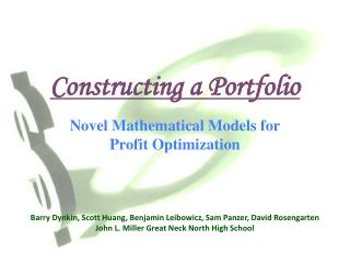Constructing a Portfolio