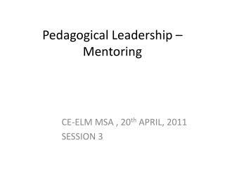 Pedagogical Leadership �  Mentoring